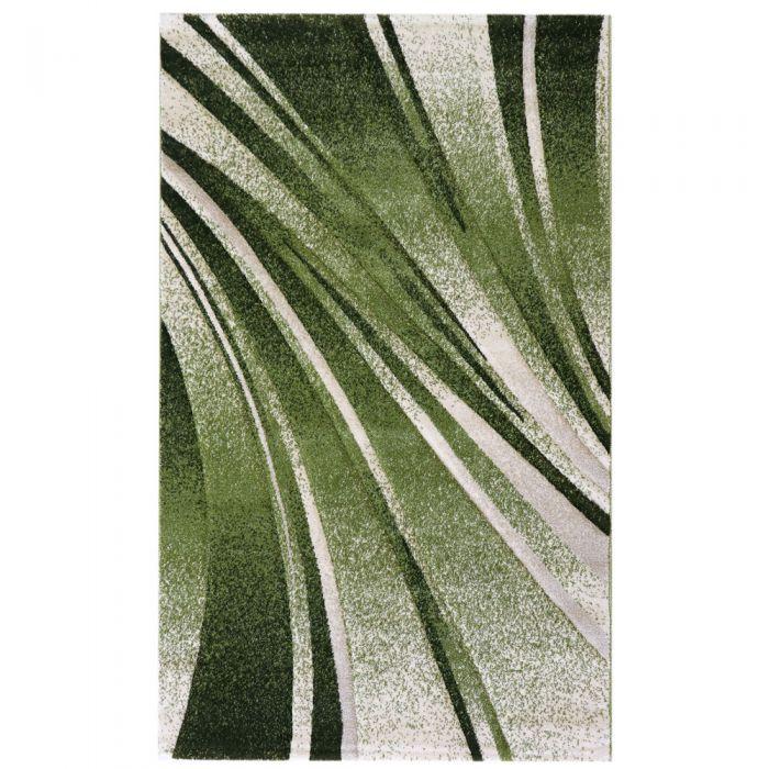 Teppich Kurzflor Grün Design Geometrische Konturen M7510
