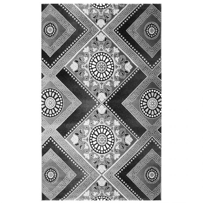 Skandinavische Teppiche Kurzflor Teppich Schwarz Grau   Versace Kreise Design MY7950