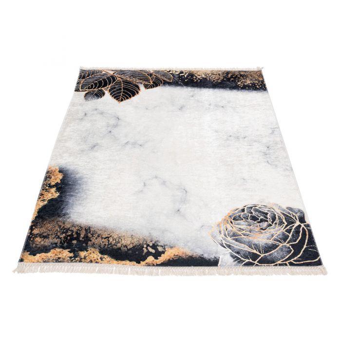 Waschbarer Teppich Antibakteriell in Schwarz Gold Floral Abstrakt M6100