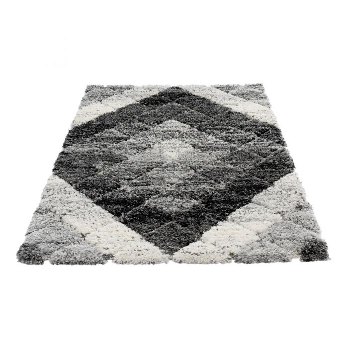 Deluxe Shaggy Teppich Grau Boho Bahama M8815