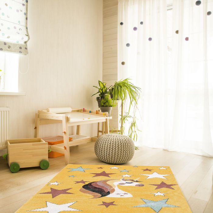 Kurzflor Kinderzimmerteppich Gelb Einhorn Motiv Spielteppich C010