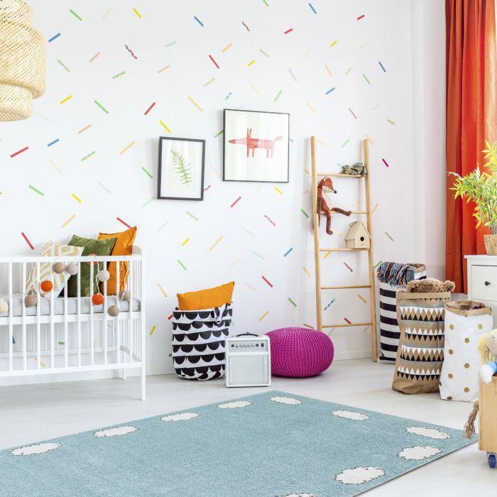 Kurzflor Kinder Teppich blau weiß Motiv Wolke Kinderzimmerteppich Spielteppich Bambica C.002       Alle Artikel