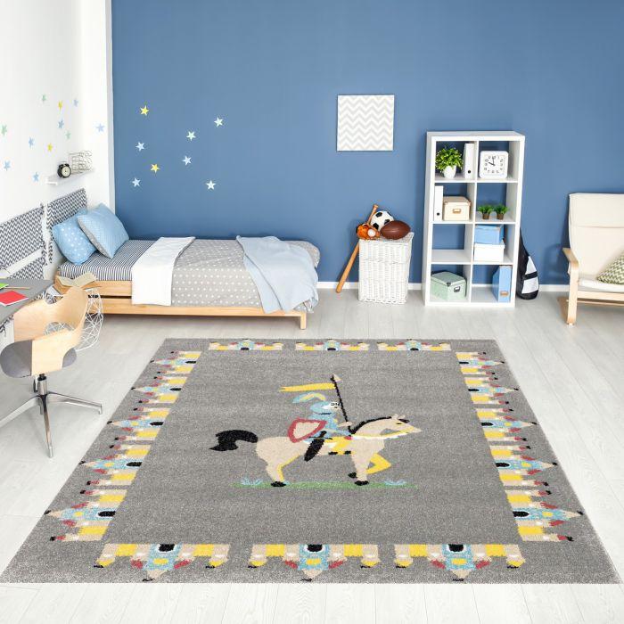 Kurzflor Kinderzimmerteppich Grau Ritter mit Burg Motiv C005