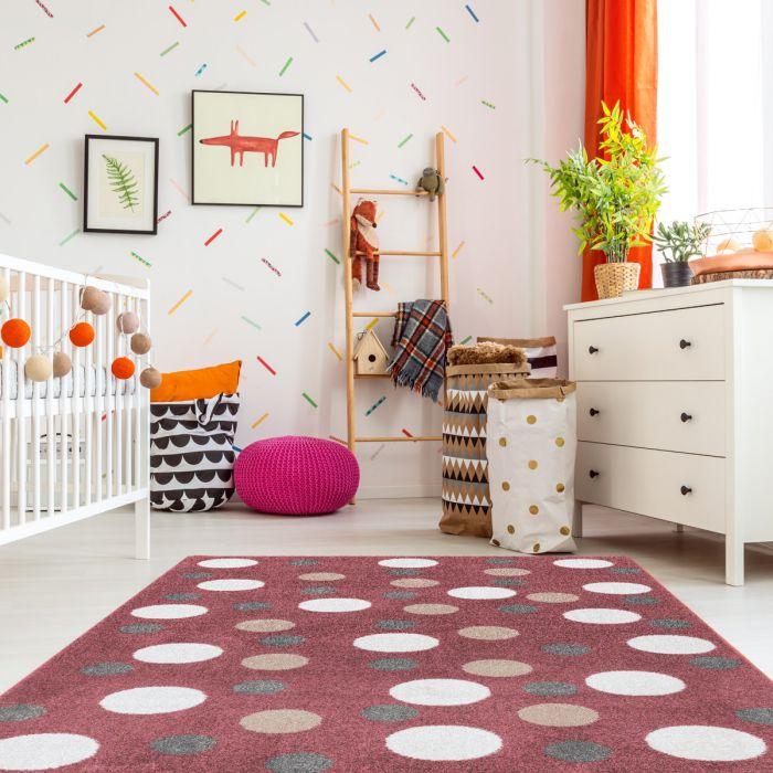 Kurzflor Kinder Teppich rot Motiv Kreise Kinderzimmerteppich Spielteppich NEU Bambica C.008  Alle Artikel