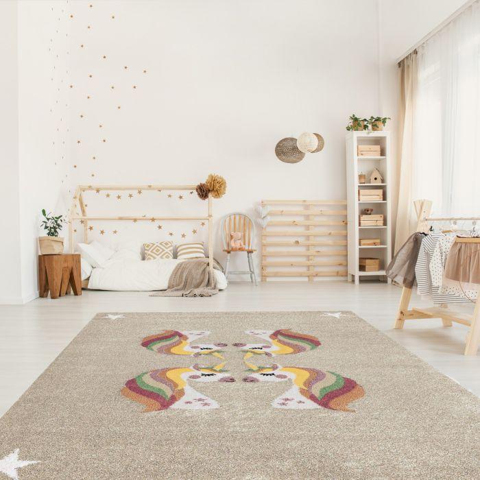 Kurzflor Kinder Teppich Cream Motiv Einhörner Kinderzimmerteppich Spielteppich Bambica C.009 Alle Artikel