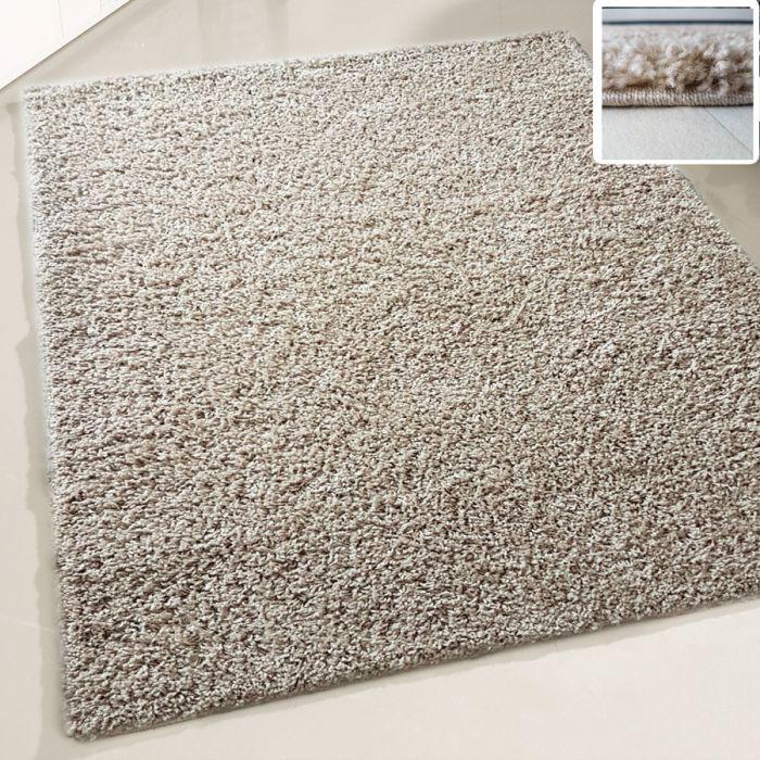 70x140 cm Shaggy Hochflor Teppich Beige Einfarbig Uni MY380 30 mm