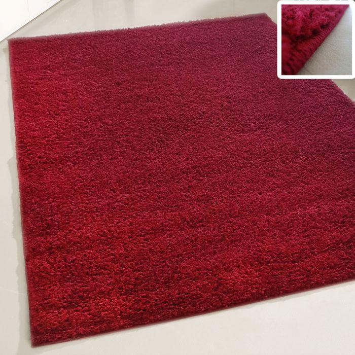 70x250 cm Shaggy Hochflor Teppich Rot Einfarbig Uni MY380 30 mm
