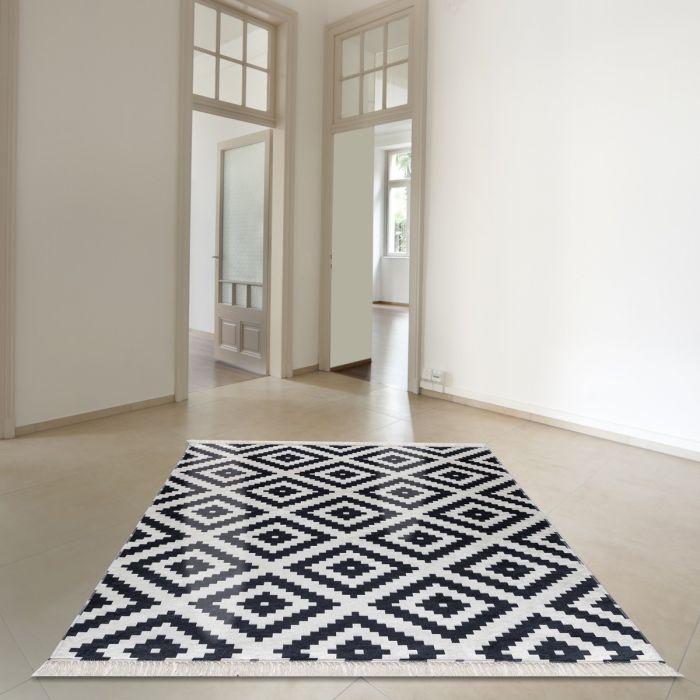 Waschbarer Teppich Antibakteriell Schwarz Weiß Skandi Design 2980