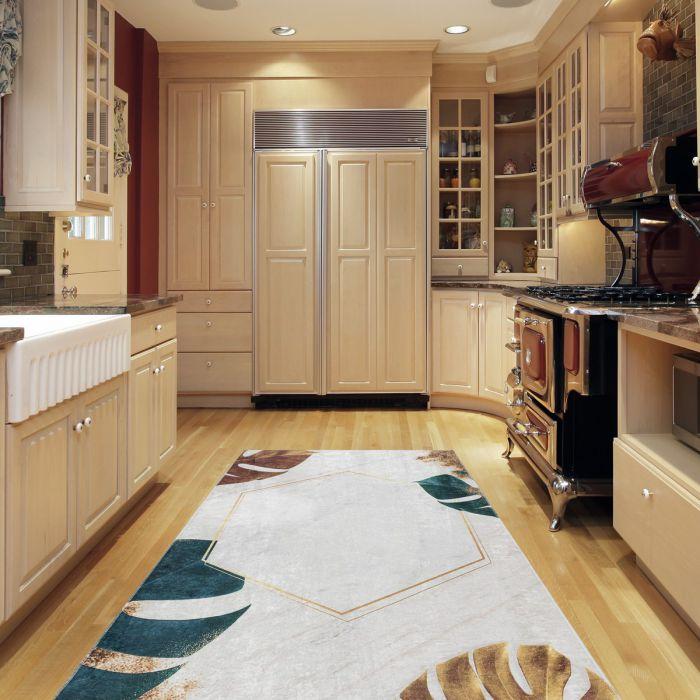 Waschbarer Teppich Antibakteriell Beige Florales Design 2992