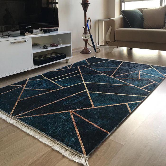 Waschbarer Teppich Antibakteriell in Gold Petrol Geometrische Design M5800