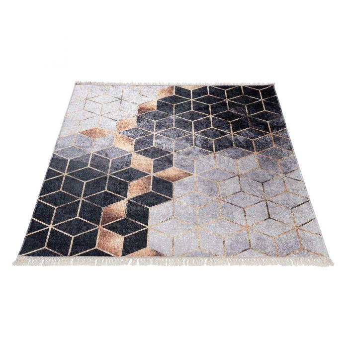 Waschbarer Teppich Antibakteriell in Schwarz Gold Geometrische Muster M5400