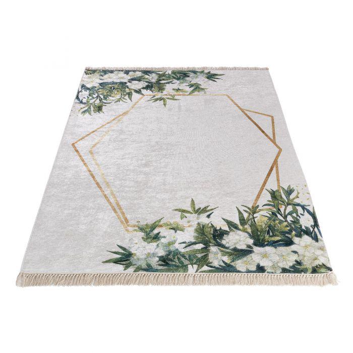 Waschbarer Teppich Antibakteriell in Creme Grün Gold M5900