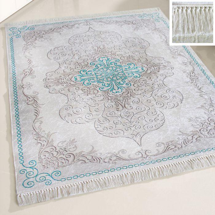 Waschbarer Teppich Antibakteriell Türkis Moderne Medaillon Design 2518