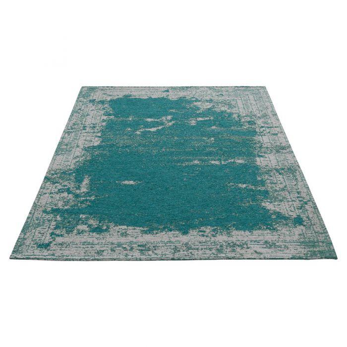 Kurzflorteppich mit Baumwolle | Indigo Aztek Grün Blau | MY6911 CARINA 6911 Teppich aus Baumwolle