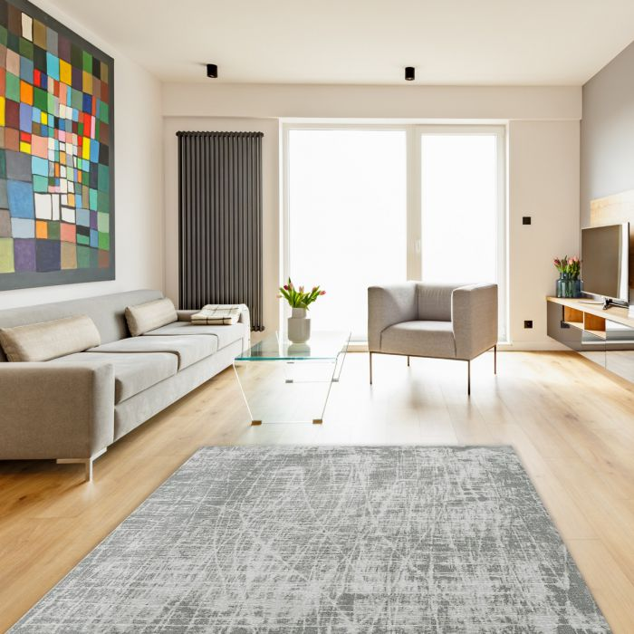 Waschbarer Teppich Baumwolle Young Pattern Grau M6921
