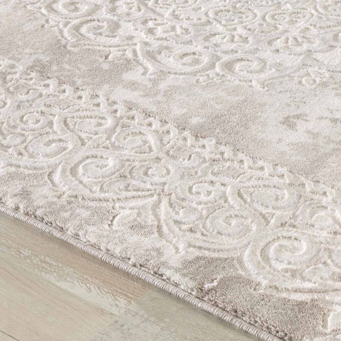Designer Teppich in Beige mit Medaillon Ornament Bordüre M3205