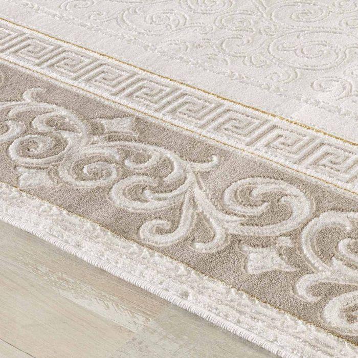 Aktuelle Trends Inspirieren Designer Teppich in Braun Cream mit Vintage Muster | Bordüre MY3206