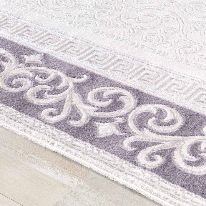 Designer Teppich in Lila Cream mit Vintage Muster Bordüre M3206
