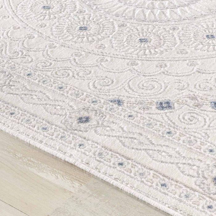 Designer Teppich in Weiss Cream mit Ornament Medaillon | Bordüre MY3203 HAR-3203-Cream Aktuelle Trends Inspirieren