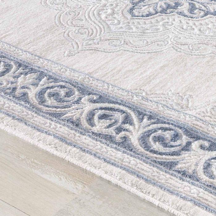 Teppiche in Türkis Designer Teppich in Pastel Turkis mit Vintage Medaillon | Bordüre MY3201