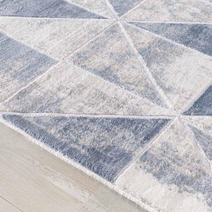 Moderner Teppich mit weichem Flor in Geo Muster Weiss Grau M3212