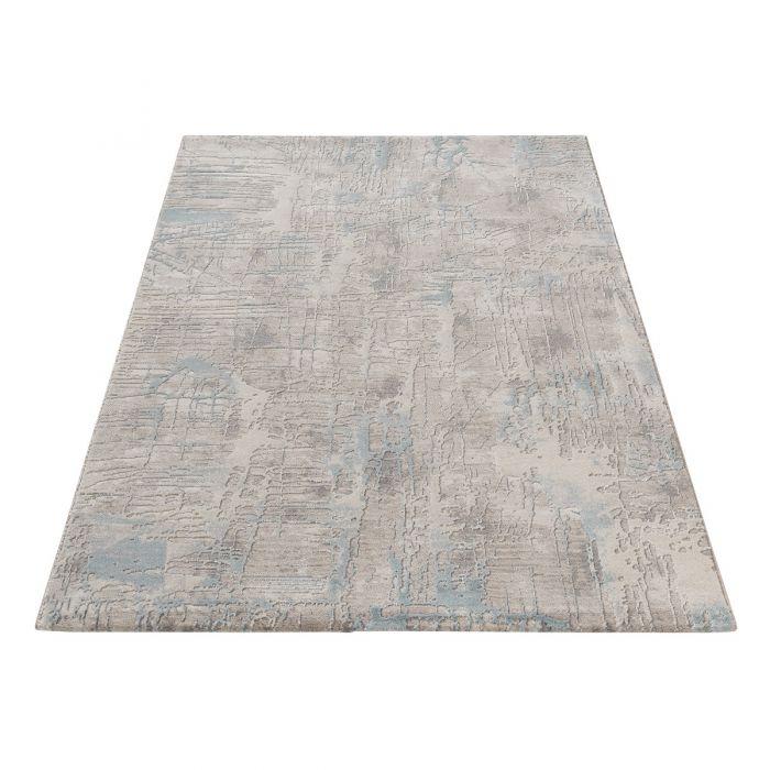 Designer Teppich Abstrakt in Blau Grau M6630M