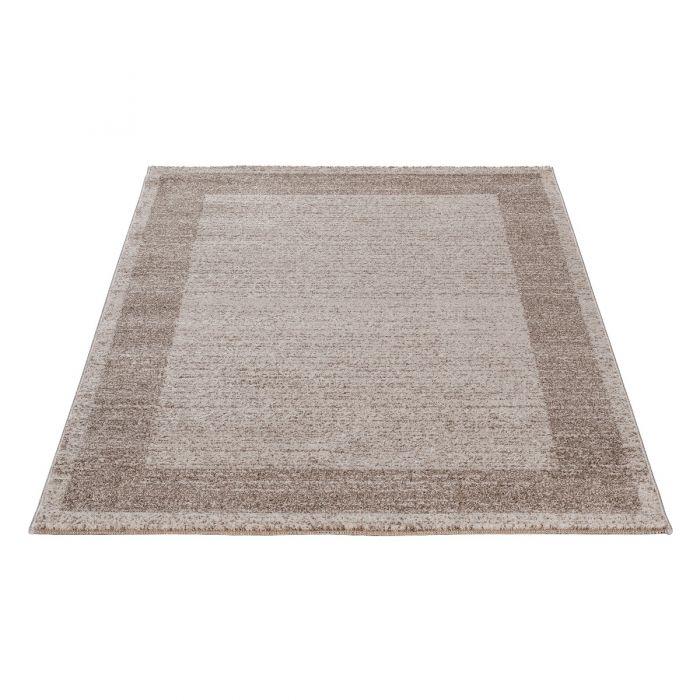 120x170 cm Kurzflor Teppich Braun Beige Muster Bordüre Umrandung MY7437J