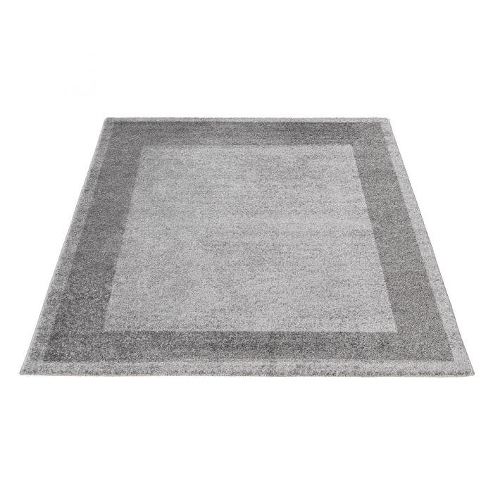 Kurzflor Teppich Grau Meliert Muster Bordüre Umrandung M7437S
