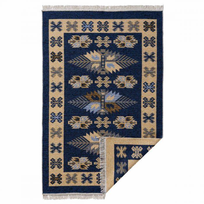 Waschbarer Teppich als Vintage Kilim | MY9910M Tulum-9910-blau Teppich aus Baumwolle