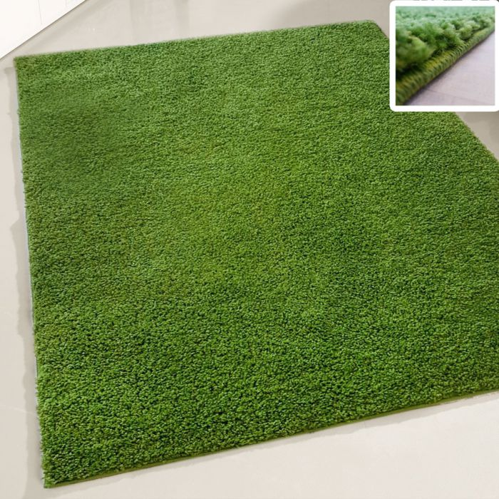30 mm Shaggy Hochflor Teppich Grün Einfarbig Uni M380