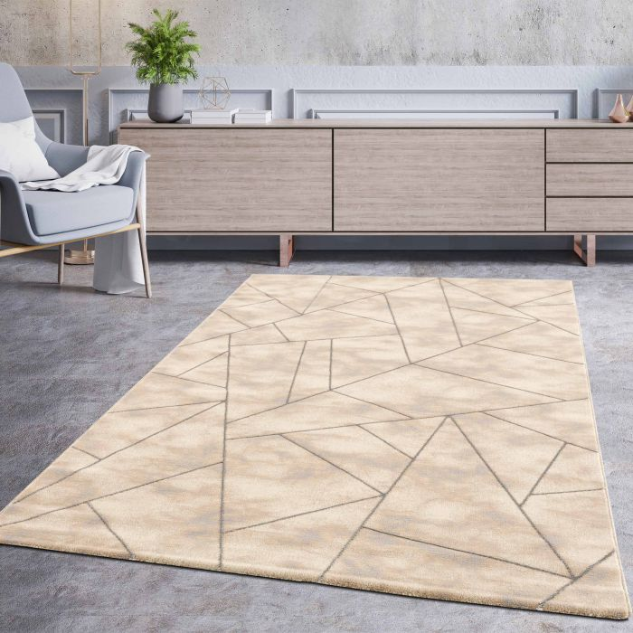 Designer Teppich Marmor Grau Silber LB801