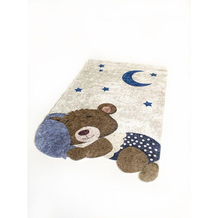 Waschbarer Kinderteppich Blau| Bär Mond Sterne Design| MY4125 Waschbarer Kinderteppich Blau| Bär Mond Sterne Design| MY4125 Alle Artikel