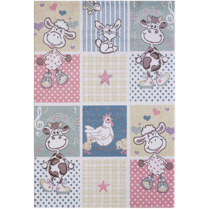 Kinderzimmer Teppich Bunt | Tiermotiven für Jungs | Mädchen Nr.4605 LunaK-4605-cream für Kinder
