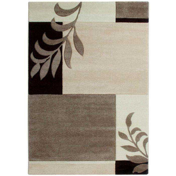 Kurzflor Wohnzimmerteppich Beige Braun gecarvte florale Designs M930R