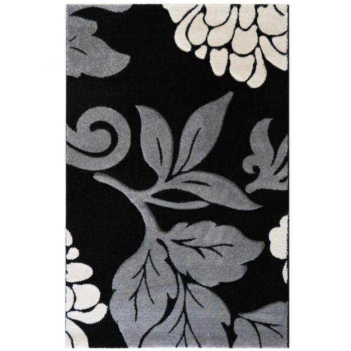 Kurzflor Wohnzimmerteppich Grau gecarvte florale Muster M906S