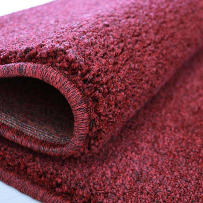 Hochwertiger Kurzflor Wohnzimmerteppich Dunkel Rot gepunktet M181K