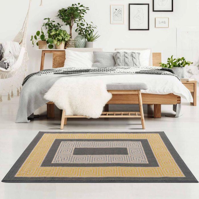 Kurzflor Teppich Gelb Pastel Versace Style 3232Y