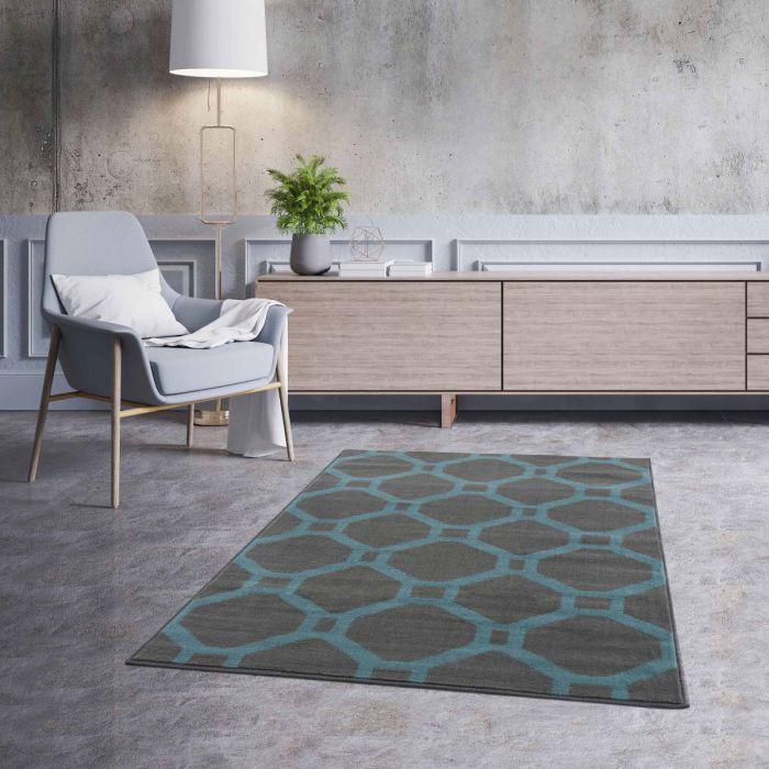 Kurzflor Teppich Türkis Waben Geo Design 3220T