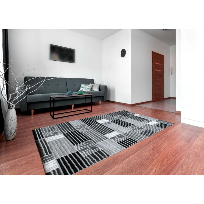 Teppich Kurzflor Grau Weiss Modern Kariertes Design M315G
