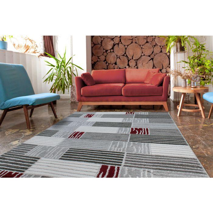 Teppich Kurzflor Rot Grau Design Karo Gestreift M315K