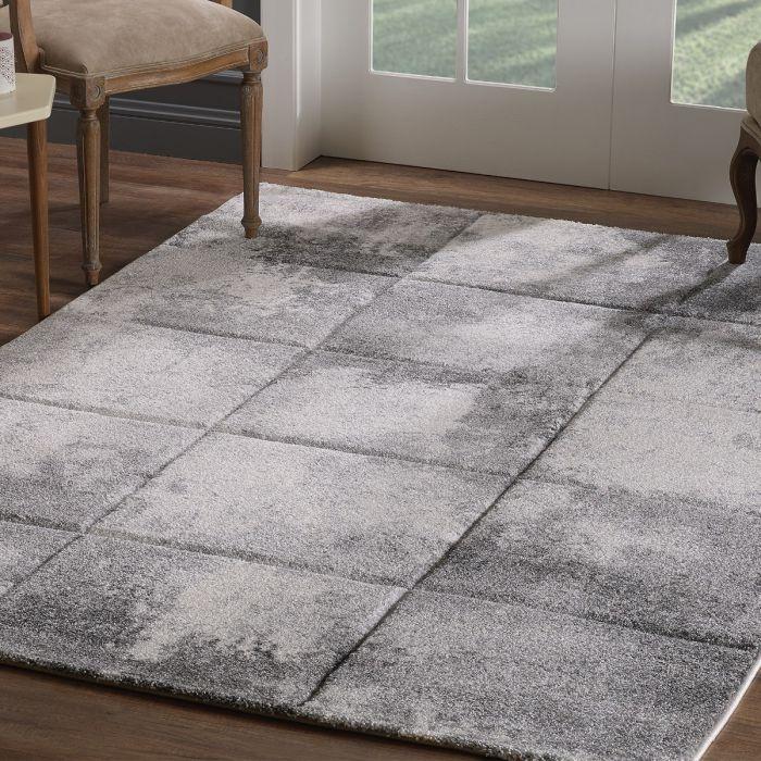 Geometrische Muster Moderner Kurzflor Teppich Grau in Kachel Optik aktuelles Design | 2902