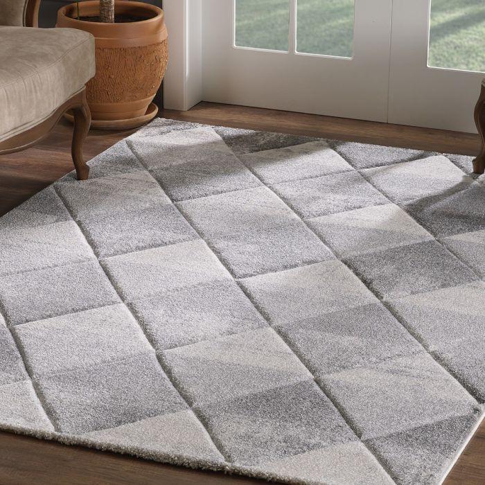 Geometrische Muster Moderner Kurzflor Teppich Weiß mit symmetrisch angeordnetem Rautenmuster | 2905