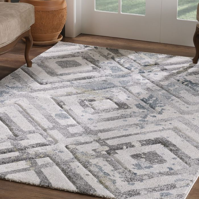 Geometrische Muster Moderner Kurzflor Teppich Weiß mit symmetrisch angeordnetem Rautenmuster | 2906