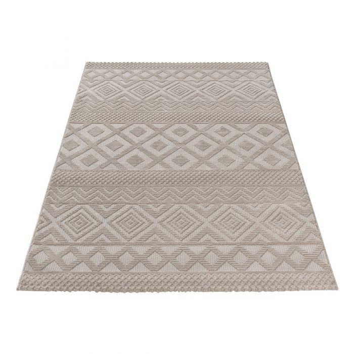 Vintage Patchwork Muster Designer Teppich 3D Skandi Pattern in Beige| MY6100J