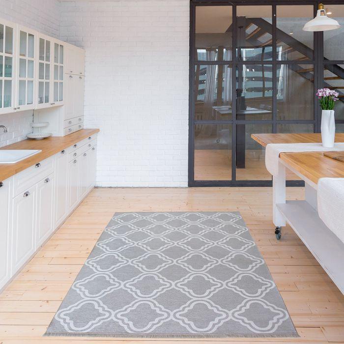 200x290 cm Teppich Waschbar Grau | Modernes Kelim Look | MY1260S