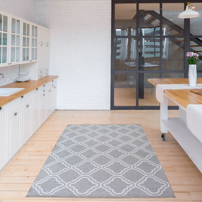160x230 cm Teppich Waschbar Grau | Modernes Kelim Look | MY1260S