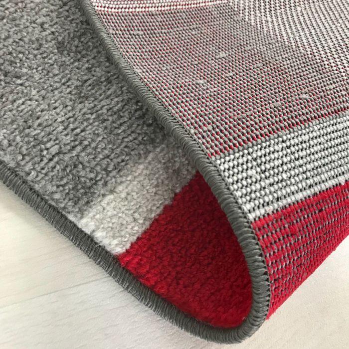 Kurzflor Teppich Rot Moderne Bordüre M1740