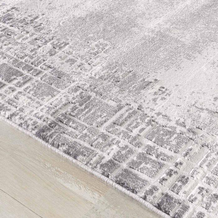 Abstrakte Muster Kurzflor Teppich in Grau mit gestreifter Bordüre mit weichem Flor MY3210