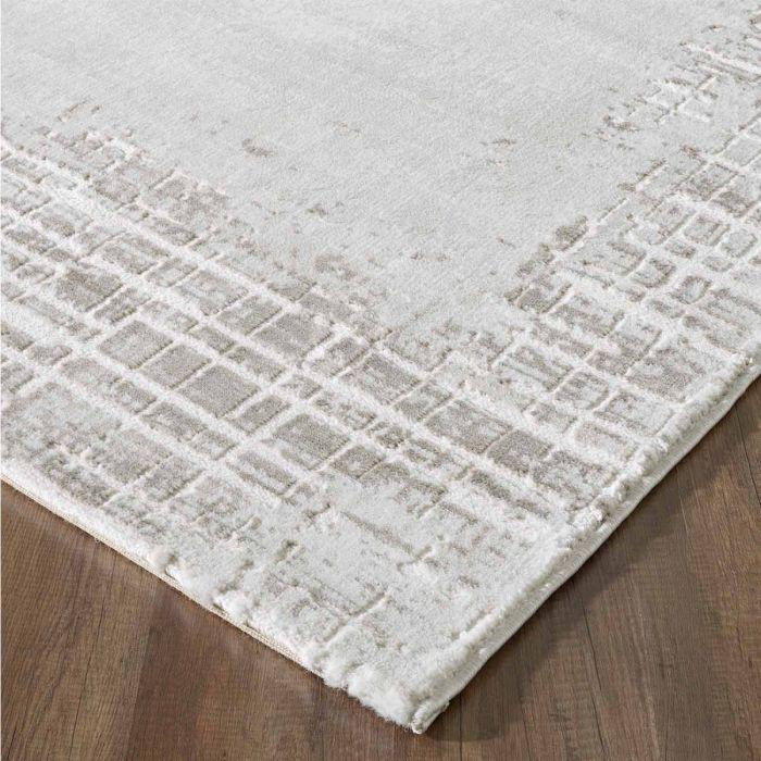Kurzflor Teppich Beige mit gestreifter Bordüre mit weichem Flor M3210