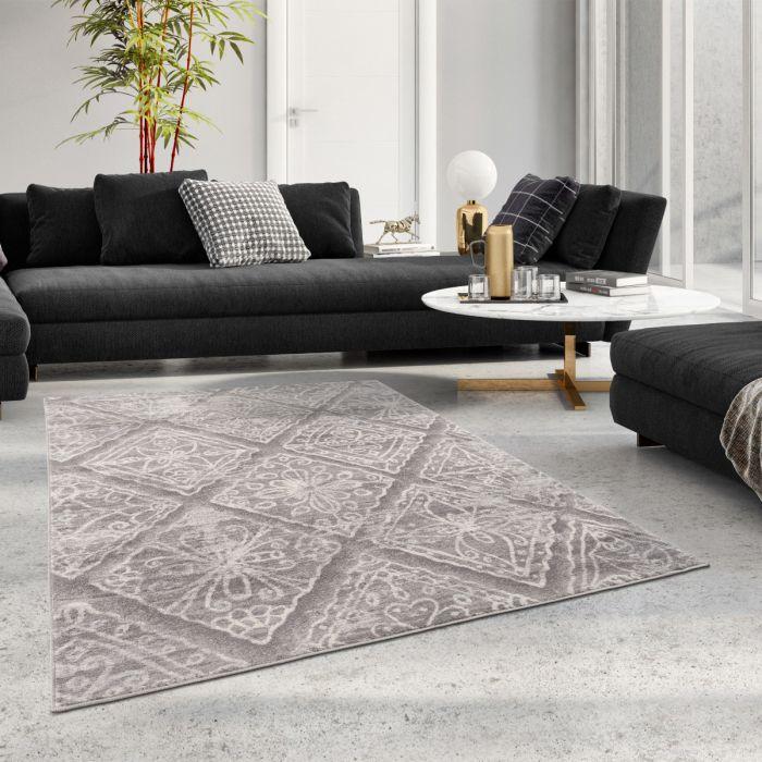 Moderner Kurzflor Teppich Grau Floral Abstraktes Muster M3734G